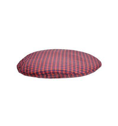 Coussin Luna ovale à carreaux rouge pour chien